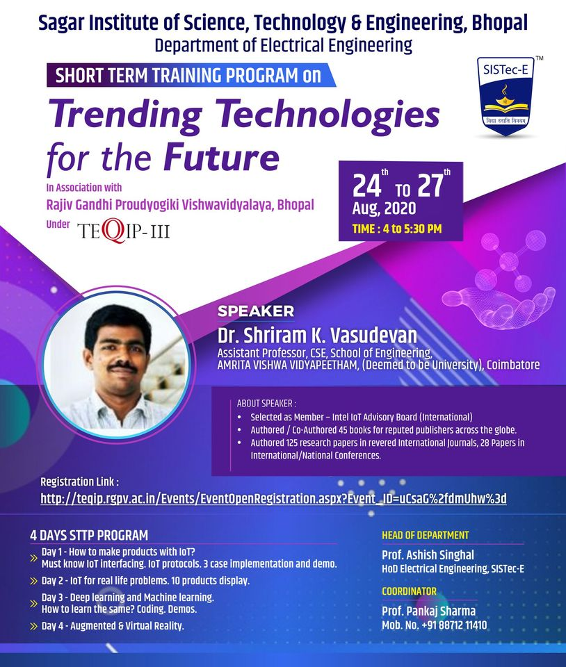 HORT TERM TRAINING PROGRAM on Trending Technologies for the Futur